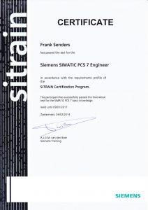Certificate PCS7 Frank Senders 4StepsAhead certificaat certified
